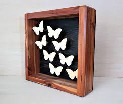 Natural Wood Polished Box Frame with Butterflies